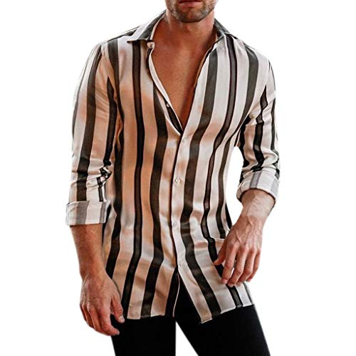Dragon868 2019 Suave Hombres Rayas Verticales Manga Larga Camisas Casuales (Negro,L)