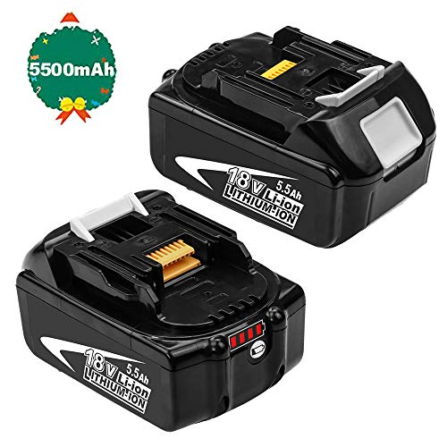 2Packs Vervangende Accu 18V voor Makita 5.5Ah / 5500mAh Lithium Compatibel met Draadloos Elektrisch Gereedschap BL1850B BL1850 BL1840 BL1830 BL1815 BL1835 BL1845 LXT-400