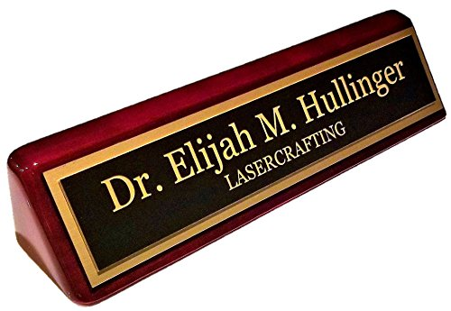 Executive Name Plate Rosewood Piano Finish Gold Plate 2' x10' - Customize