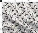 Spatzen, Vögel, Flug, Spatz, Schwarz Weiß Stoffe -