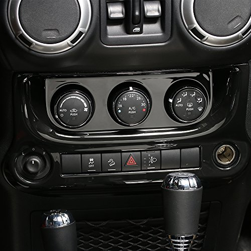RT-TCZ Interior Accessories Air Conditioning Switch Panel Cover Trim for Jeep Wrangler 2011-2017(Black)