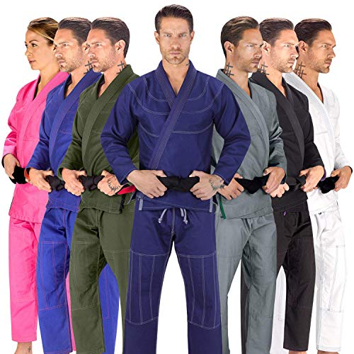 Elite Sports BJJ GI for Men IBJJF Kimono BJJ Jiu Jitsu Lightweight GIS W/Preshrunk Fabric & Free Belt (Navy, A1)