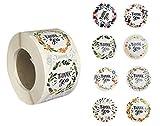 Pegatinas Redondas Florales de Thank You, 1.5 Pulgadas, 3.8 cm / 8 Diseños / 1000 Etiquetas Adhesivas por Rollo