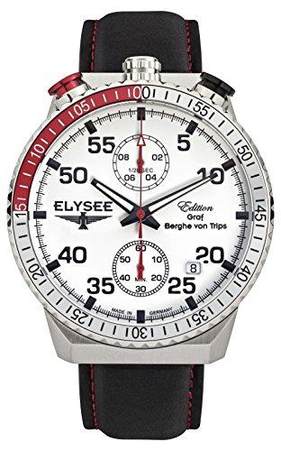 Elysee Uhr Herren Rally Timer I – Herrenuhr mit Edelstahl Gehäuse – Armbanduhr Quarz Chronograph mit Stoppfunktion und Datumsanzeige