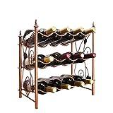 CESULIS 3 capas Botellero apilable estante del vino del diseño moderno de uva autoportante de metal 12 de la botella de vino de almacenamiento en rack estante del vino 42x23x46.5cm Exhibición del Vino