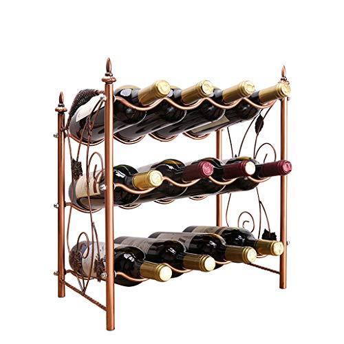 YINGGEXU Botellas 3 capas Botellero apilable estante del vino del diseño moderno de uva autoportante de metal 12 de la botella de vino de almacenamiento en rack estante del vino 42x23x46.5cm Estanterí