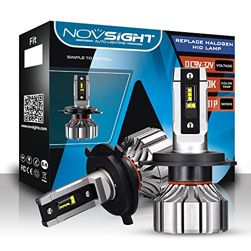 NOVSIGHT Kit de 2 Ampoules H4/HB2 LED de Voiture 360°Réglable Phares de Auto 10000LM/Paire 50W/Paire 6500K Blanc Lampes de Remplacement pour Ampoules Halogènes