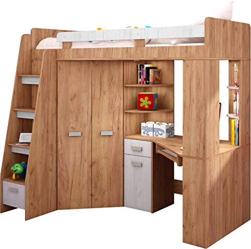 Hochbett mit Schreibtisch, Regal und Kleiderschrank. Treppe rechts oder links (Craft-gold/Craft-white - Left Hand-side Stairs)