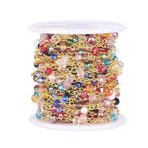 Airssory - Cadenas de eslabones doradas (10 metros) hechos a mano, cristal facetado, formas mixtas, cuentas doradas, latón hallazgos a granel para hacer joyas y hacer cadenas de gafas, manualidades