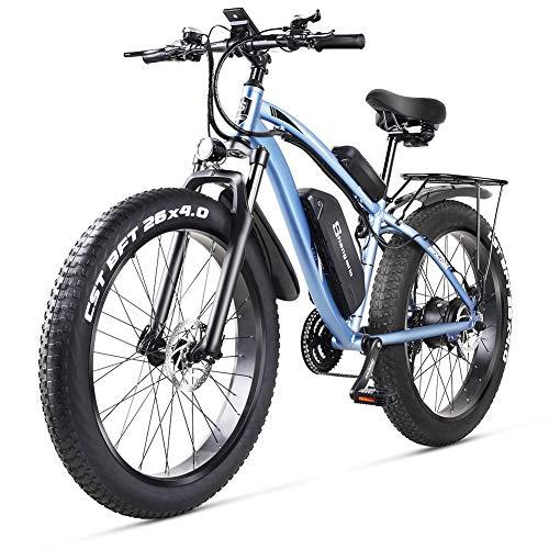 shengmilo MX02S 48V 1000W Bici Elettrica Mountain Bike Elettrica 26 Pollici Pneumatico Grasso E-Bike velocità Beach Cruiser Sport da Uomo Mountain Bike Batteria al Litio Freni a Disco ebike (Blu)