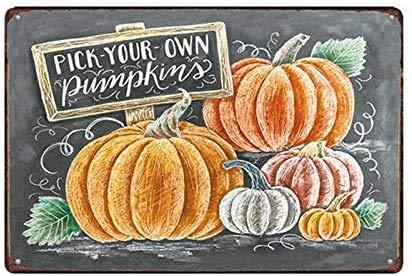 """Targa in metallo da 20 x 30 cm, con scritta """"Pick Your Own Pumpkins"""", decorazione per la casa e il bar, decorazione vintage"""