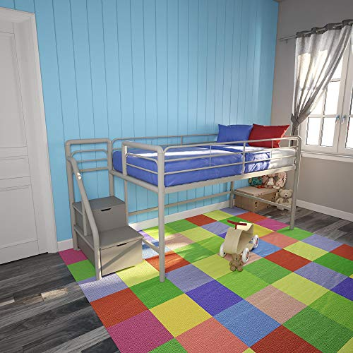 DHP Junior Metal Loft Bed with Storage Steps, Twin Size, Silver/Gray Daybed,