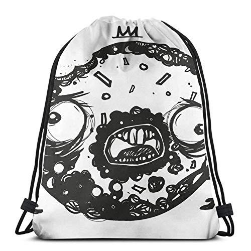 WH-CLA Cinch Bags Zombie Donut by Mien Wayne Bolsos con Cordón para Compras con Estampado Liviano, Fitness, Gimnasio, Moda, Único Al Aire Libre, Duradero, para Mujeres, Especiales, Deport