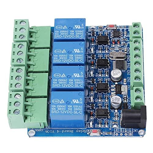 Relé DealMux DC 12V, 1 pieza, placa de módulo de relé de 4 canales, microcontrolador STM8S103F3, comunicación RS485