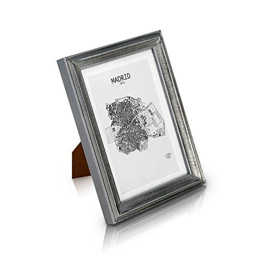 Marco de Foto Vintage de Madera SÓLIDA de 18x13cm - Shabby Chic Originales - Paspartú para Fotos 15x10 cm incluida - Frente de Vidrio - ¡Anchura de los Marcos 2cm! - Plata Envejecida