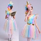 Mädchen Prinzessin Einhorn Kleid Kostüm,Rainbow (100-110(Etikett 110),S (3-4 Jahre) - 3
