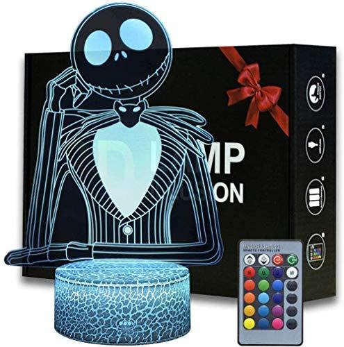 DZX 3D Illusion Lamp Led Night Light Halloween Town Pumpkin King Jack Skellington Anime Lámpara de Mesa con Control Remoto Jack Skellington Decoración para niños Dormitorio Creativo para niños y
