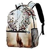 Mochila para niñas y niños, bolsa de escuela, bolsa de libros para mujeres, casual, con correas ajustables para el hombro, signo de paz de guerra, azul, Animal Elk 6 (Multicolor) - w04