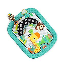 Removable prop pillow supports baby during tummy time Leaf-shaped rattle for fun sounds Cute frog bead chaser 2 FunLinks for attaching baby's favorite toys Bright and colourful