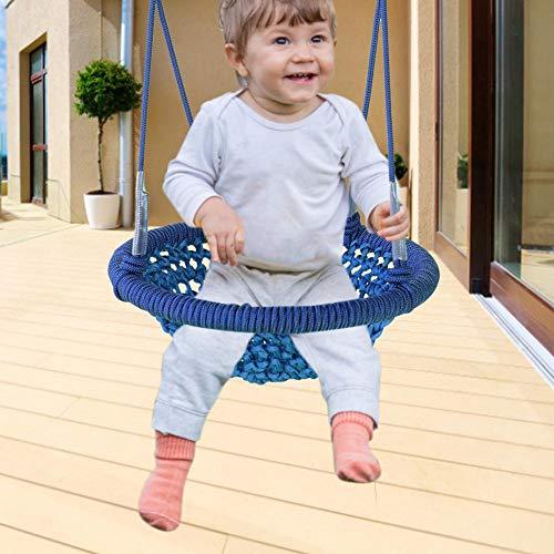 Wenhe - Silla colgante para niños, columpio redondo para niños, con forma de nido de pájaro redondo, carga máxima 150 kg