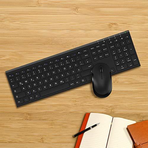 Jelly Comb 2.4G Kabellose Tastatur und Funkmaus Set, Wiederaufladbare Ultradünne Tastatur mit USB Maus, Fullsize QWERTZ Deutsches Layout für PC, Laptop, Computer und Smart TV, Schwarz