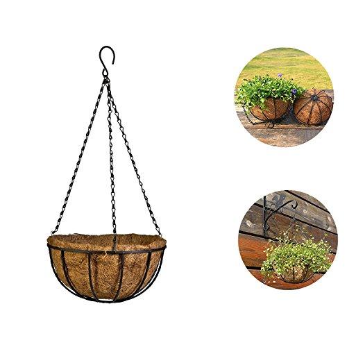 YOSPOSS 20,3 cm murale en métal Pot de fleurs à suspendre des Producteurs, fer Pot de fleurs avec chaîne Idéal pour la maison, jardin, intérieur, extérieur, plantes 1 Pack