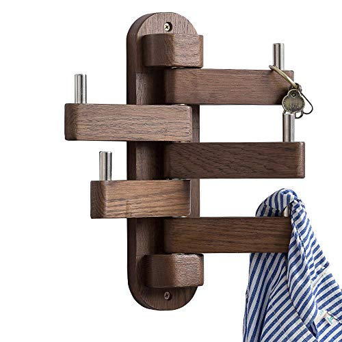 INMAN Coat Hooks for Wall, Walnut Wood Wall Hooks with 5 Swivel Foldable Arms, 12'' Length Wall Coat...