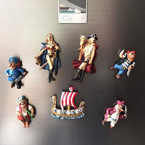 yqs imanes de Nevera 7 Piezas Nórdico Dinamarca Turista Imán De Nevera Recuerdo Creativo Los Piratas Vikingos Los Barcos Vikingos Resina 3D Lindos Imanes