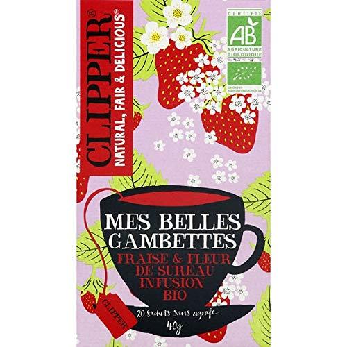 Clipper - Organic Infusion My Beautiful Legs Strawberry Aromas And Elderflower - Infusion Bio Mes Belles Gambettes Aromes Fraise Et Fleur De Sureau - The 40G Box - Price Per Unit - Fast Delivery