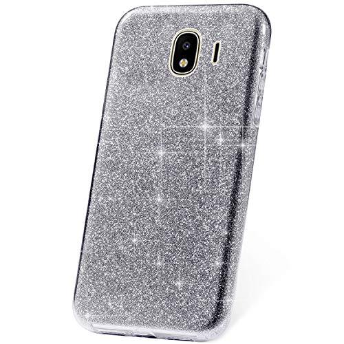 JAWSEU Etui Galaxy J2 Pro 2018,Coque Galaxy J2 Pro 2018 Silicone TPU Gel Brillant Bling Glitter Paillette PC Rigide Back Case Coque Ultra Mince Souple Silicone Case Coque Housse Etui