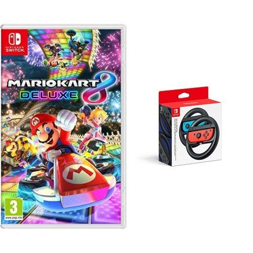 Mario Kart 8 Deluxe & Two Official Joy-Con Steering Wheels (Nintendo Switch)