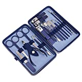 Nails Kit with Straight Nail Clipper, Blue Nail Set Case Hold Nail Assecories in Place, Nail Clippers for People Travelling Use or Gifts Nail Kit