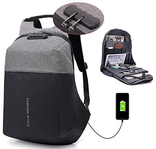 lingtom 15,6Laptop Rucksack, Wasserabweisend, Business Computer Tasche, Reisen College Schule Rucksack für Damen & Herren mit USB Lade-Schnittstelle L-Grey Large