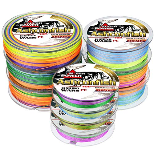 ashconfish – Super Stark Geflochtene Angelschnur PE Angeln Draht Multifil Angeln String 500 m/546yards Angeln Gewinde – abriebfest Incredible Superline Zero Stretch klein Durchmesser dunkel – Colorful