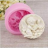 AMOYER Engel Rose Schokolade verziert Mold Fondant 3D Kerze Salz Skulptur Silikon-Kuchen-Form Bakeware Kochen Werkzeuge Rosa