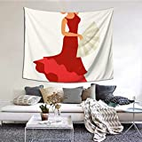 Zaqiwa Wall for Hanging A Flamenco Dancer Tapestry Wall Hanger 60x51 Inches(152x130cm) Wall Hanging Art Home Decor Polyester for Living Room Bedroom Dorm