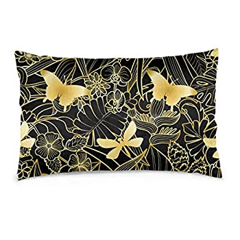 njfhgk Zippered Pillow Case Golden Fly Dragonfly Leaf Rectangle Throw Pillowcase Throw Pillowcase Cushion Cover Home Decorative Pillowcases for Sofa Couch Bed Car 20 X30