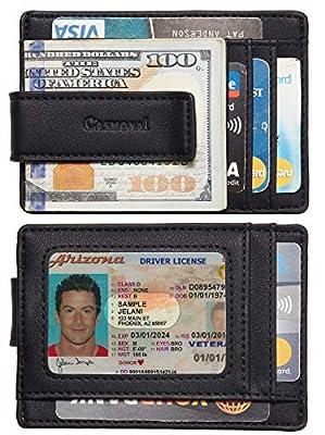 Casmonal Money Clip Slim Minimalist Front Pocket Mens Wallet(Denapa Black)