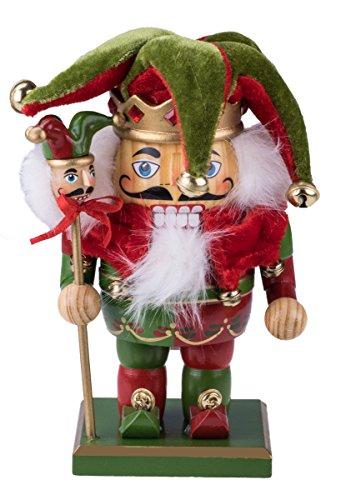 Clever Creations - Traditioneller Nussknacker-Hofnarr - mit Mütze, Glöckchen und Zepter - 100% Holz - rot-grünes Outfit - 18,4 cm