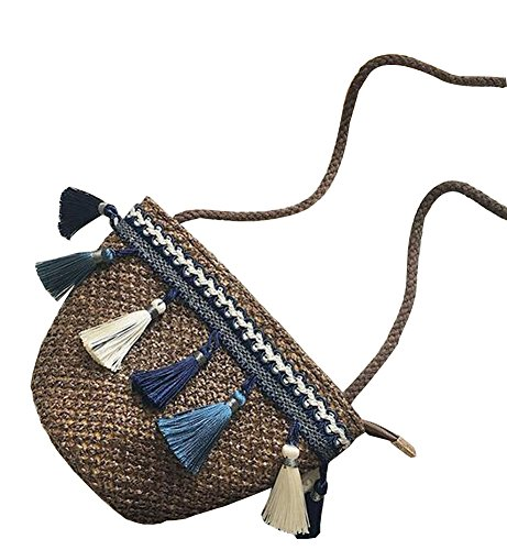 Sac de paille de mode Sac à main fait à la plage en sac d'écharpe [marron]