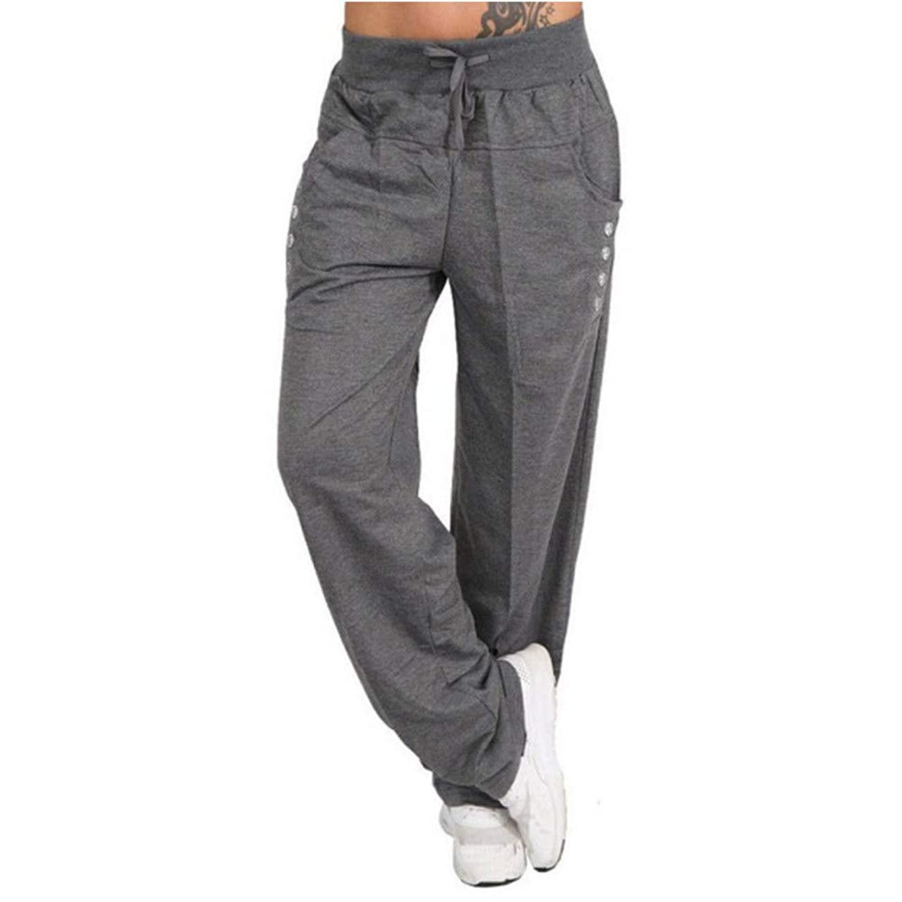 SMALLE??? 2019 Womens Trousers,Solid Color Elasticity Wide Leg Yoga Sports Loose Casual Long Pants