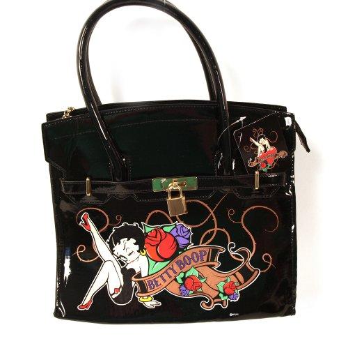Betty Boop Damen Handtasche, groß, schwarz-Matt