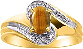 RYLOS 14K Yellow Gold Ring with Oval Gemstone & Genuine Diamonds Swirl Design - 7X5MM Color Stone Birthstone Rings