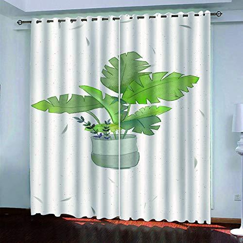 MENGBB Cortina Opaca Microfibra Infantil 280x260cm Plantas Verdes en macetas 95% Opaca Cortina aislantes de frío y Calor Decorativa con Ojales Estilo para Salón Habitación y Dormitorio