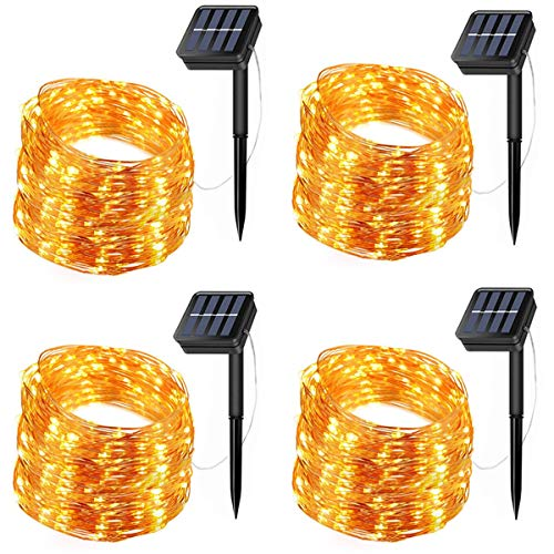 LiyuanQ Solar Fairy Lights, 4 Pack 200 LED Solar String Lights 66 Feet 8 Modes Copper Wire Lights Waterproof Outdoor Twinkle Lights for Garden Patio Yard Gate Party Wedding Outdoor Decor Warm White