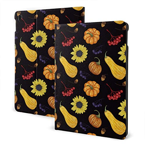 Thanksgiving Hapyy Fall Harvest Sunflower Squash Design Pu Leather Ipad Pro Air 3 10.5/Ipad 7th Generation 10.2 Inch Case Cover Holder for Kids Girls Boy Women Men Accessories