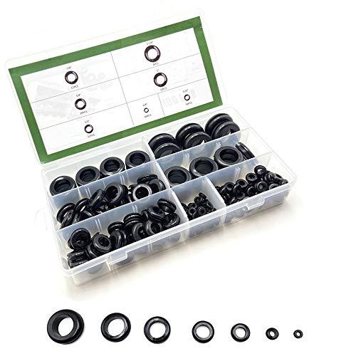 Kit surtido de 190 ojales de goma para cortafuegos, 1/4', 5/16', 1/2', 5/8', 7/8', 1', 1-1/8', kit de juntas de alambre eléctrico, kit de juntas de goma, ojal para enchufe de cortafuegos