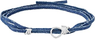 Apm Monaco Denim Choker Bracelet with Silver Rings and Loops