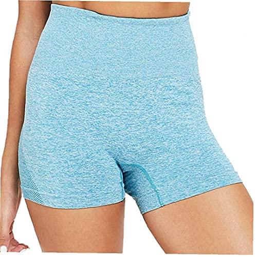 Eaarliyam Yoga de los Pantalones Cortos Cortos de Las Polainas de Las Mujeres de Cintura Alta sin Fisuras de Control de la Panza de Ejecutar la capacitación Medias pantalón Azul XL
