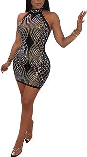 Nhicdns Women s Sexy Rhinestone Mesh See Through Sequins Sheer Bodycon  Cocktail Party Club Pencil Dress 9f0b33190